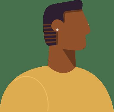 Short Hair Black Profile Man