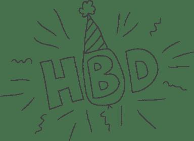 HBD Hat Sticker