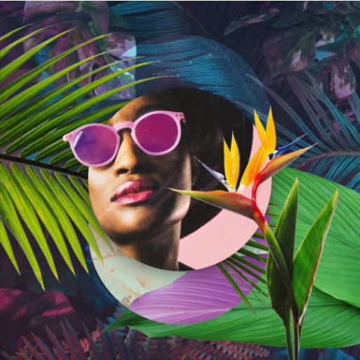 Imagen circular con múltiples elementos de diseño, como una imagen de una persona con lápiz labial brillante y gafas de sol, gráficos suaves y una combinación ecléctica de colores brillantes y oscuros.