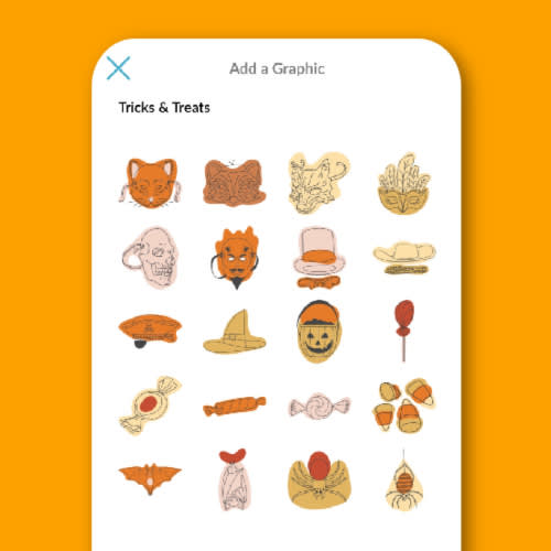 Mobile app stickers for autumn and Halloween, available in the PicMonkey mobile app.