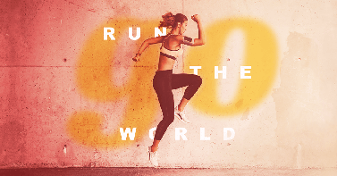 """Layered design with gradient background, image of woman exercising, and the text """"GO"""" and """"Run the world."""""""