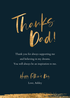Father's Day card template with gold foil font at PicMonkey