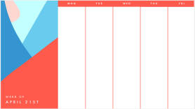 bold colors and shapes weekly calendar template
