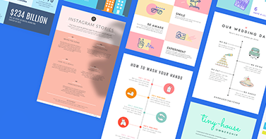 Various PicMonkey infographic templates against a blue background.