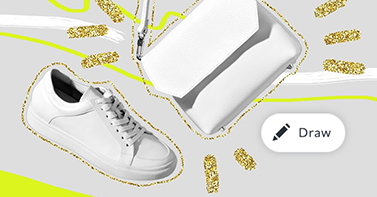 Draw tool in picmonkey over a white tennis shoe and purse with neon highlights