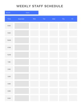 Weekly schedule maker template for staff schedules