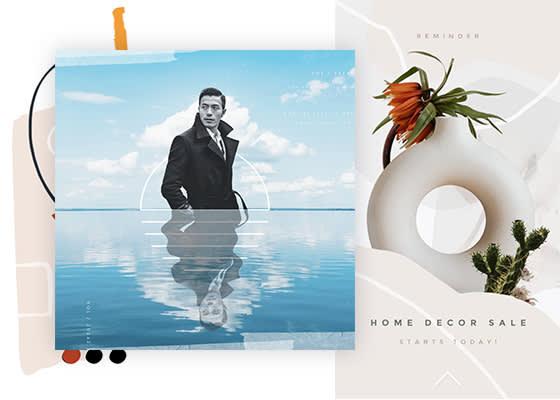 Collages d'art réalisés avec les outils de création de collages de PicMonkey : moitié supérieure monochrome de l'homme superposée à l'horizon avec la mer devant lui, publicité « vente de décoration d'intérieur » avec images et graphiques.