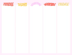 Weekday planner template at PicMonkey