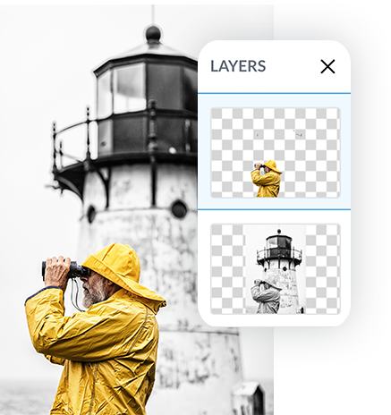 Color splash photography using PicMonkey's Background eraser, featuring man in yellow rain jacket in front of black and white lighthouse.
