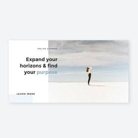 Girl on sand with text banner template