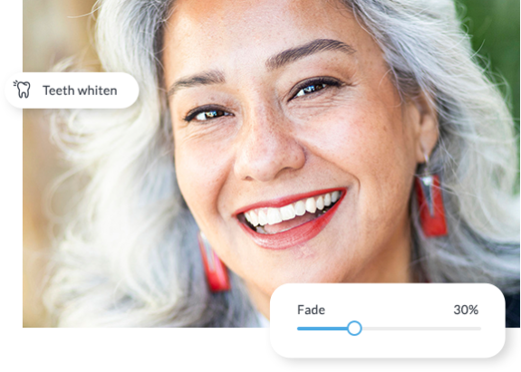 Woman with before and after of teeth whitener applied with PicMonkey touch-up tools