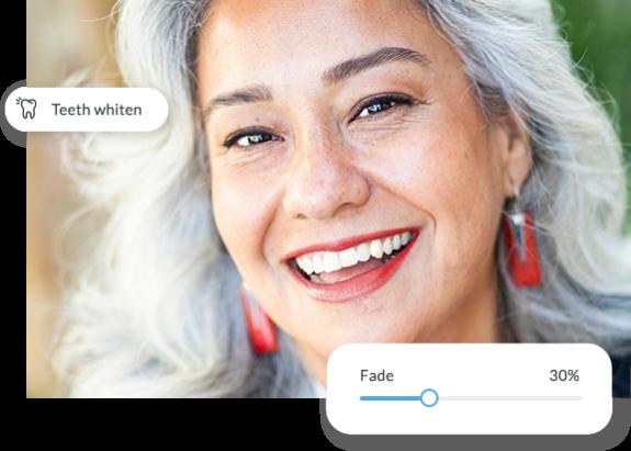 Mujer con antes y después de blanqueador de dientes aplicado con herramientas de retoque PicMonkey