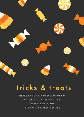 """PicMonkey Halloween invitation template with black background, candy graphics, and text announcing """"tricks & treats"""" party and location details."""