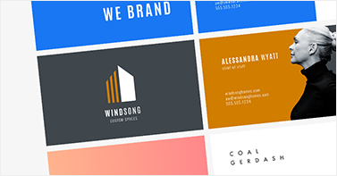 Various PicMonkey business card templates against a gray background.