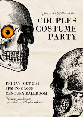 """PicMonkey Halloween invitation template with papery texture background, skull designs, and text announcing a """"Couples Costume Party."""""""