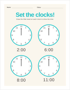 Telling time worksheet maker template at PicMonkey