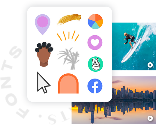 """Various graphics — location pins, charts, social icons, shapes, brush strokes, etc. — available for use in PicMonkey, along with stock video examples and circle text that reads """"FONTS""""."""