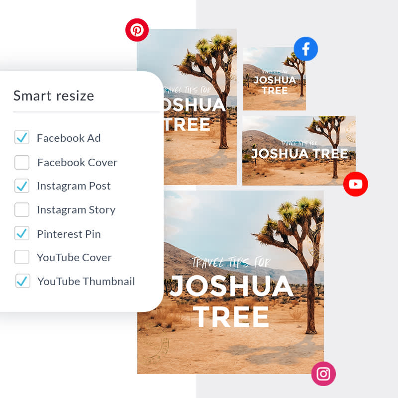 PicMonkey's Smart Resize tool outputs images in multiple sizes