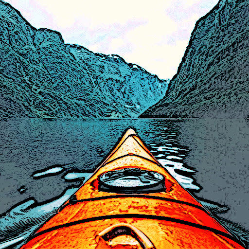 Canoa en el río convertida en ilustración fotográfica con las herramientas de PicMonkey.