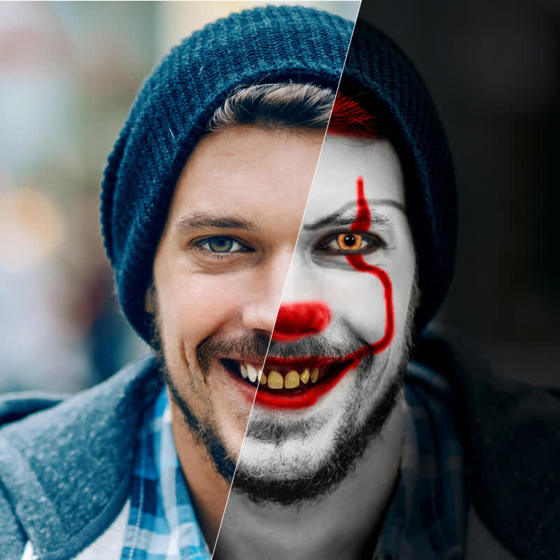 Split screen showing how to turn a normal photo of a man into a sinister clown photo.
