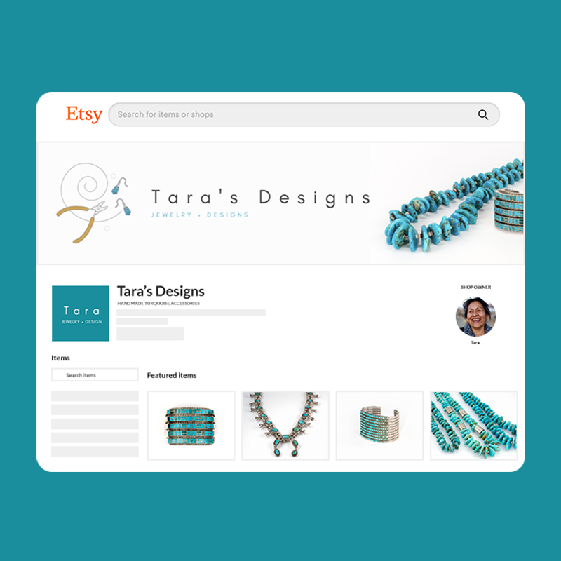 'Tara's Designs' Etsy store example.