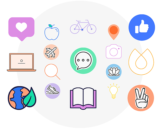 Various graphics available at PicMonkey: heart, apple, bicycle, plane, magnifying glass, shoe, laptop, book, dialogue bubble, the world with a leaf growing from it, light bulb, location pin, thumbs up, hand giving peace sign, camera, and a geometric shape.