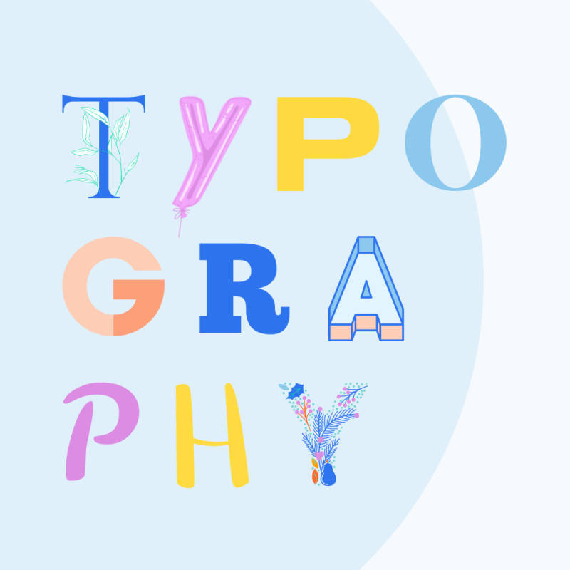 """Typography art example: letter graphics, each individually designed, spelling the word """"typography."""""""