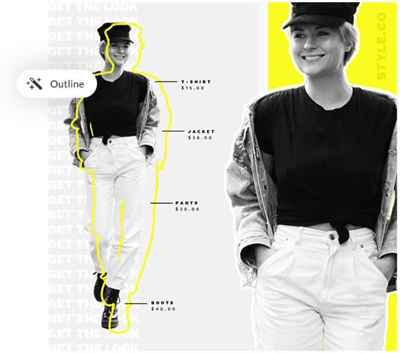 use la herramienta de contorno para trazar imágenes y texto para una apariencia de diseño artístico