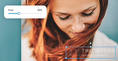 """""""Two Moons fashion + lifestyle"""" watermark being added to photo of a red haired woman, using PicMonkey."""