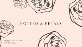 illustrated black flowers on pink business card