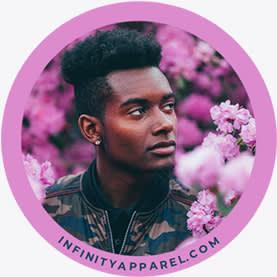 Purple circle profile picture design template.