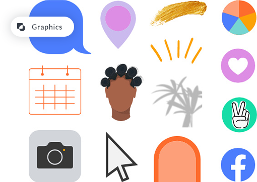Various graphics available at PicMonkey: phone icons, social icons, charts, paint streaks, location pins, calendars, etc.