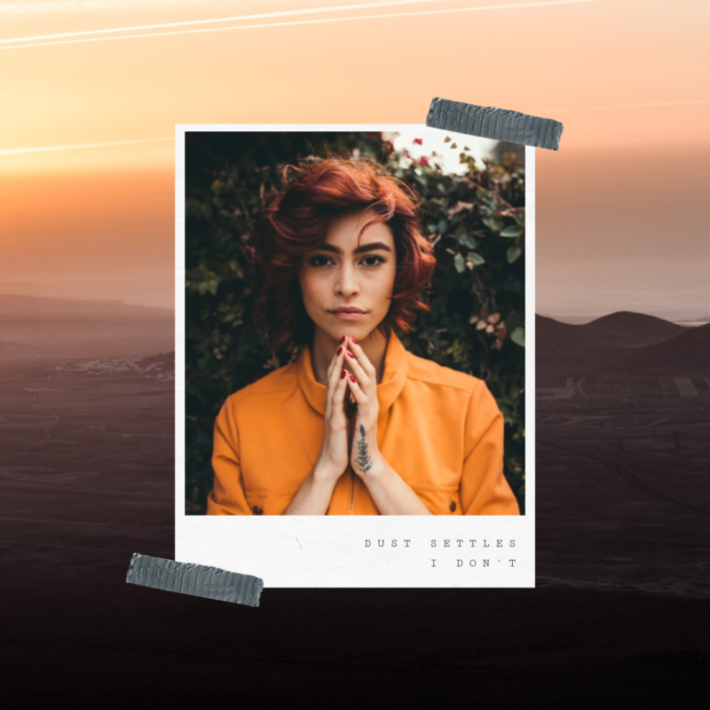 PicMonkey scrapbook-style design made with stock photo of woman in orange shirt with hands folded in front of her.