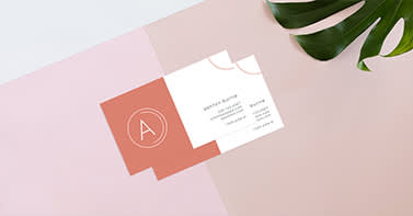business card on table