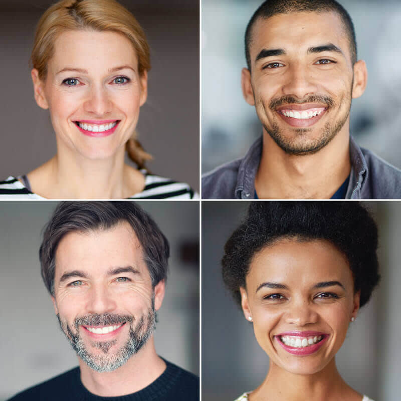 Square grid of four professional headshots for LinkedIn.