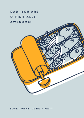Father's Day card template with can of sardines graphic