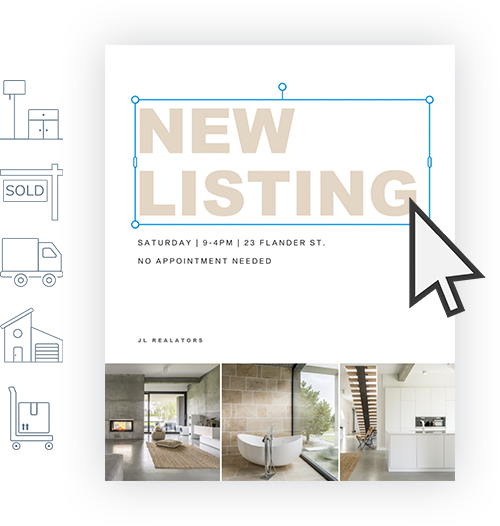 New listing flyer for real estate being made in PicMonkey showing text editing and graphics being added