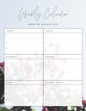 spring flowers weekly calendar template customize and make it your own at PicMonkey