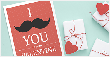 valentine card on table with presents