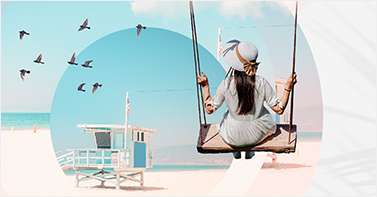 Photo montage showing a woman on a swing photo combined with geometric shapes, textures and a photo of a beach and birds.