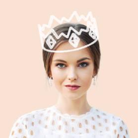 modèle de photo de profil avec couronne de dessin animé