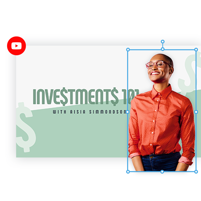 """Perfectly sized YouTube thumbnail with smiling woman in orange button up, white and money-green background, and text """"Investments 101 with Aisia Simmondson."""""""