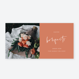 orange bouquet on white sheet with text