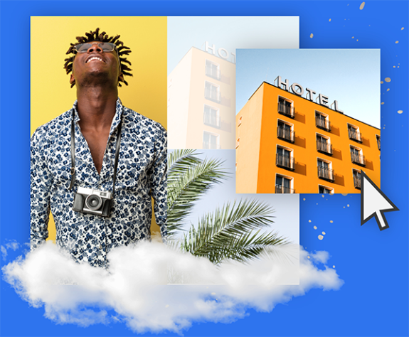 Man with camera around his neck looking up placed in a floating collage with palm trees and a retro hotel.