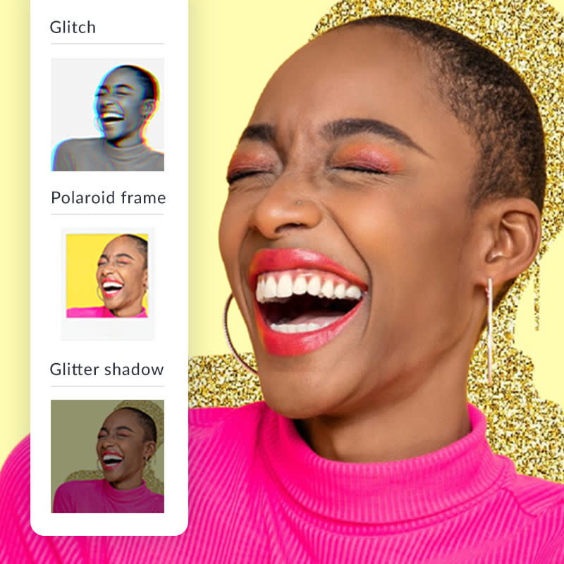Smiling woman in pink turtleneck with glitter shadow effect applied to background.