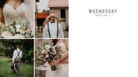 Wedding-themed photo calendar creator daily template at PicMonkey