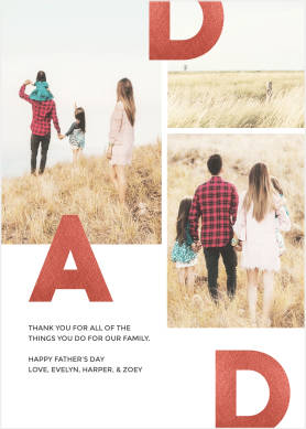 Father's Day card template with photos