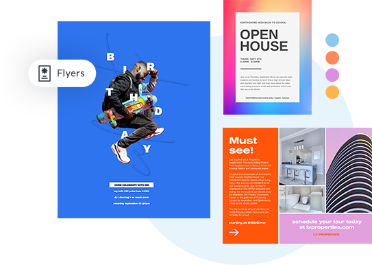 Colorful flyer examples for birthday, open house, and real estate made in PicMonkey