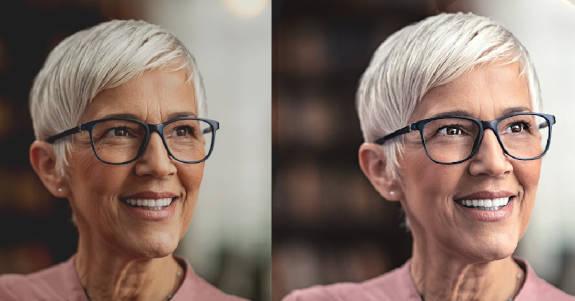 Fotos de antes y después de un retrato ligeramente retocado de una mujer mayor con gafas y cabello corto y blanco.