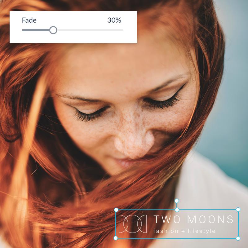 Se agrega una marca de agua a la foto de una mujer pelirroja en PicMonkey.